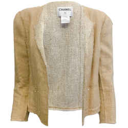 Chanel Tan Raw Silk Jacket