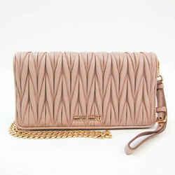 Miu Miu Matelasse 5ZH029 Women's Leather Chain/Shoulder Wallet Pink Bei BF528255