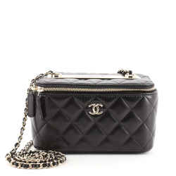Trendy CC Vanity Case with Chain Quilted Lambskin Small