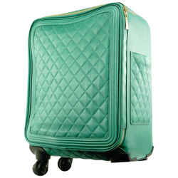 Chanel Quilted Green Caviar Leather Rolling Luggage Trolley Suitcase 627ccs31