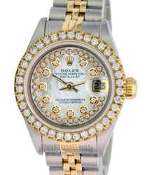Rolex Lady Datejust White Mop Diamond Dial Diamond Bezel 26mm-quickset