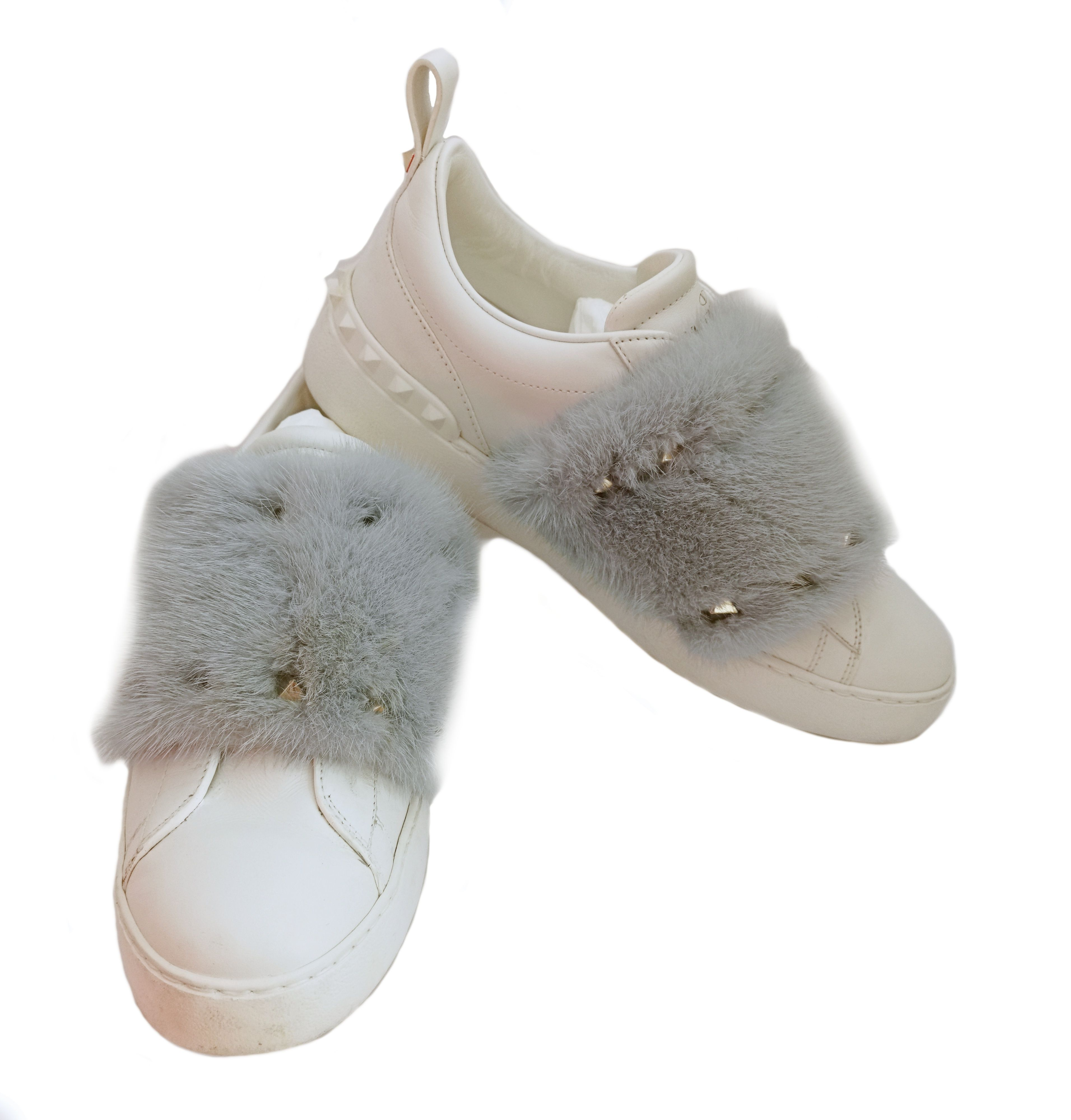 Mink Fur-trimmed Leather Sneakers