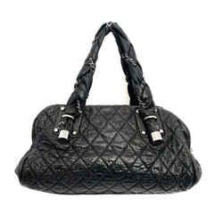 Chanel Black Quilted Distressed Deerskin Satchel