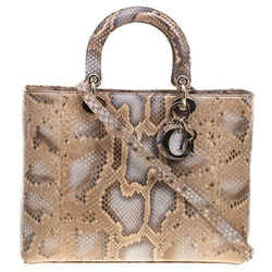 Dior Beige Python Large Lady Dior Tote
