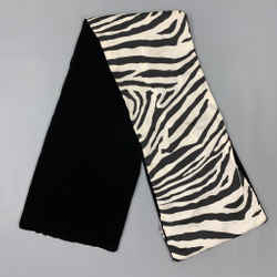 DOLCE & GABBANA Black & White Zebra Rayon Velvet Reversible Scarf