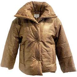 Nanushka Snake Print Puffer Brown Coat