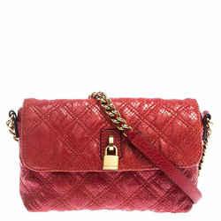 Marc Jacobs Red Quilted Leather Flap Padlock Shoulder Bag