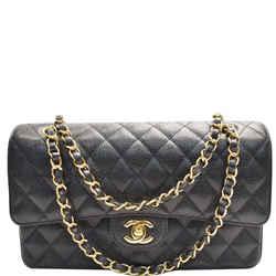 CHANEL  Medium Double Flap CC Caviar Leather Shoulder Bag Black