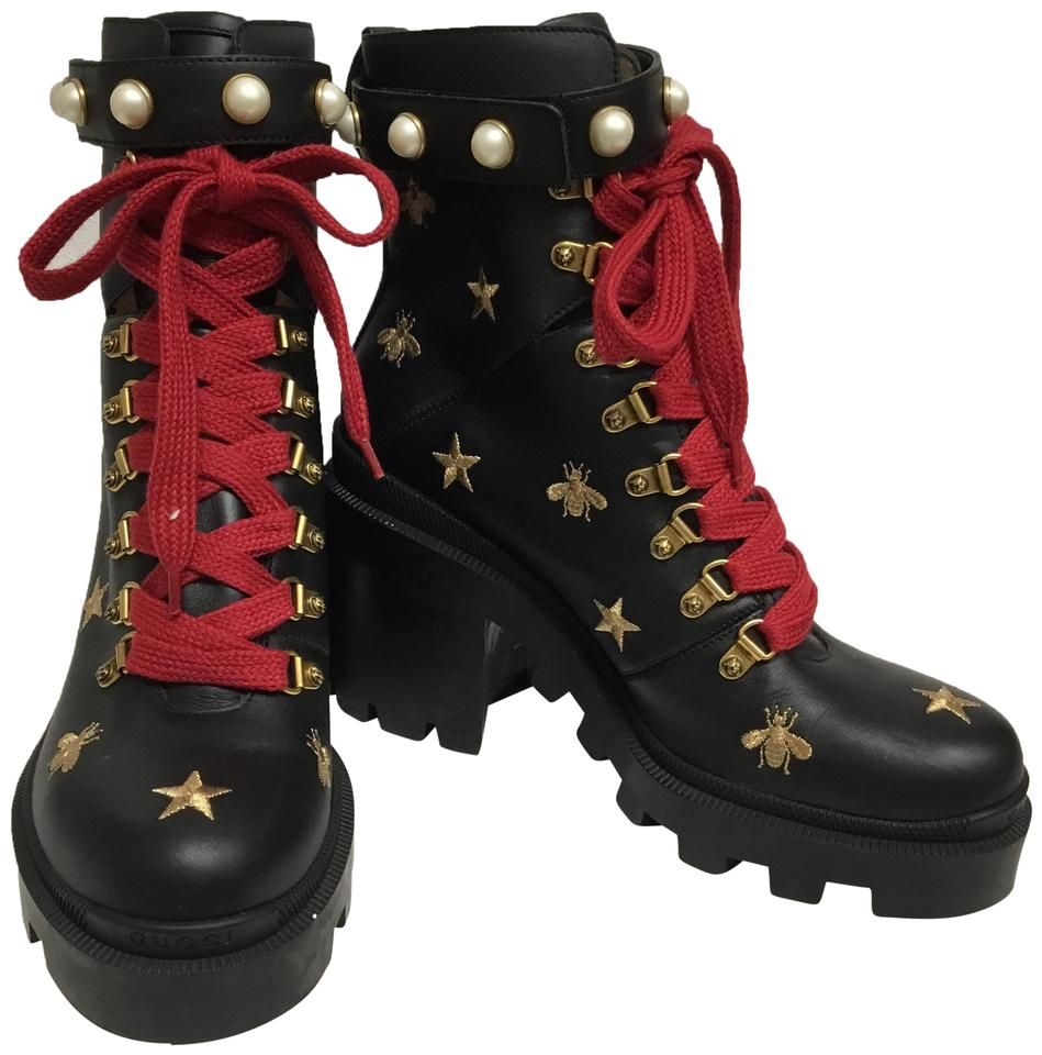 Gucci Black Ankle with Gold Bees Stars