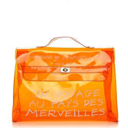 Hermes Souvenir Kelly Clear Orange Tote L'exposition See Through Translucent 24her63