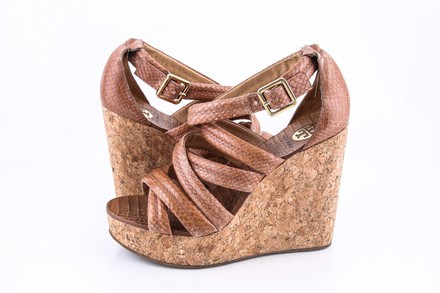 Tory Burch Jeanine Leather Cork Wedge Sandals Tan Size 5 Authenticity Guaranteed