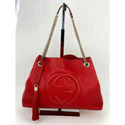 Gucci Red Medium Soho Pebbled Leather Chain Strap Shoulder Bag B251 Authentic