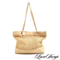Chanel Beige Leather + Raffia Triple CC Chain Strap Bag