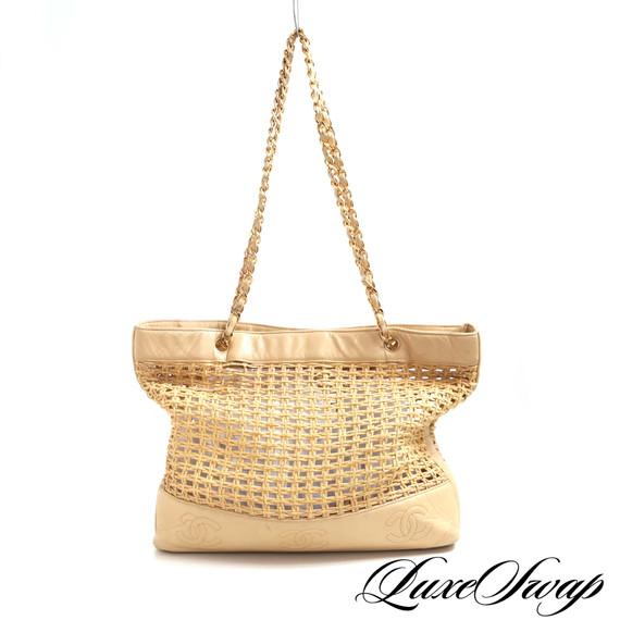 Chanel Beige Leather + Raffia Triple CC Chain Strap Bag