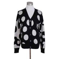 Libertine Black White Polka Dots Cashmere Cardigan Sweater Sz. 6