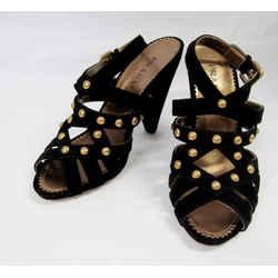 Prada 40 Black Suede Studded Gold Sandals Heels Strappy Triangular Heel Italy
