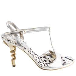 Roberto Cavalli Metallic Gold T-strap Snake Heeled Sandals