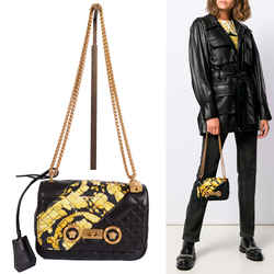 NEW $2195 VERSACE Black & Yellow BAROCCO QUILTED LEATHER MEDUSA Chain Strap BAG