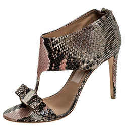 Salvatore Ferragamo Multicolor Python Embossed Studded Pellas T Strap Sandals...