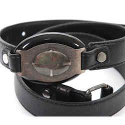 LANVIN Belt Leather Black Silver HW Buckle Sz M