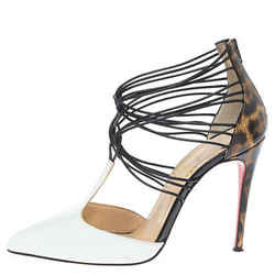 Christian Louboutin White/Brown Leopard Print Leather Confusa Pointed Toe Pumps