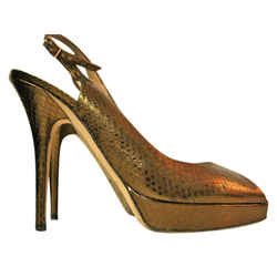 Jimmy Choo Bronze Slingback Peep Toe Heels 37.5 Pumps Size: US 7.5 Regular (M, B) Item #: 20095966