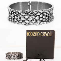 NEW $495 ROBERTO CAVALLI Silver Tone Metal Angel FEATHERS Hinged Bracelet CUFF