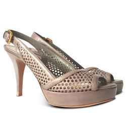 New Prada Slingback Perforated Peep Toe Platform Sandal - Grey - Size 39