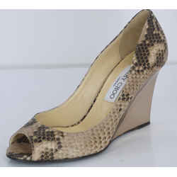 Jimmy Choo Womens Baxen Wedge Pump Brown Snake Leather Size 36.5