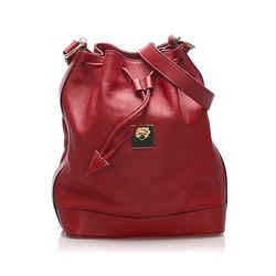 Red Celine Leather Bucket Bag