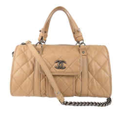 Beige Chanel CC Wild Stitch Leather Travel Bag