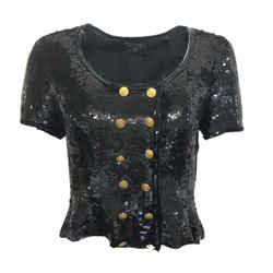 Chanel Boutique Vintage Black Sequined Blouse