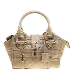 Burberry Beige Quilted Leather Mini Manor Satchel