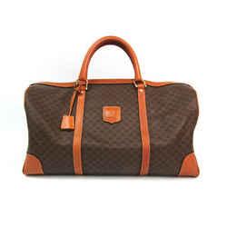Celine Macadam Unisex Leather,PVC Boston Bag Brown,Dark Brown BF534262