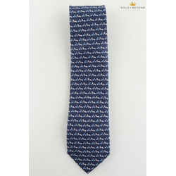 Salvatore Ferragamo Blue Snail Acorn Fox Silk Tie