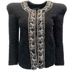 Balmain Black Tweed and Silver Bead Embellished Jacket