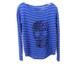 Zadig & Voltaire Size 4 Blue Natural Stripes Cotton Crystal Sweater