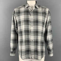 ERMENEGILDO ZEGNA Size XL Light Gray Plaid Button Up Long Sleeve Shirt