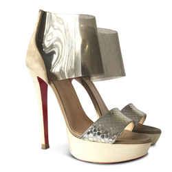 New $1630 Christian Louboutin Dufoura 140 Python/pvc Sandal - Silver - Size 38.5