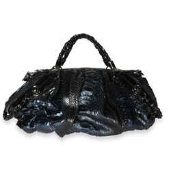 Gucci Blue Python & Black Leather Large Galaxy Bag