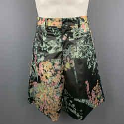 Comme Des Garcons Homme Plus Size S Black & Green Marbled Floral Pvc Shorts