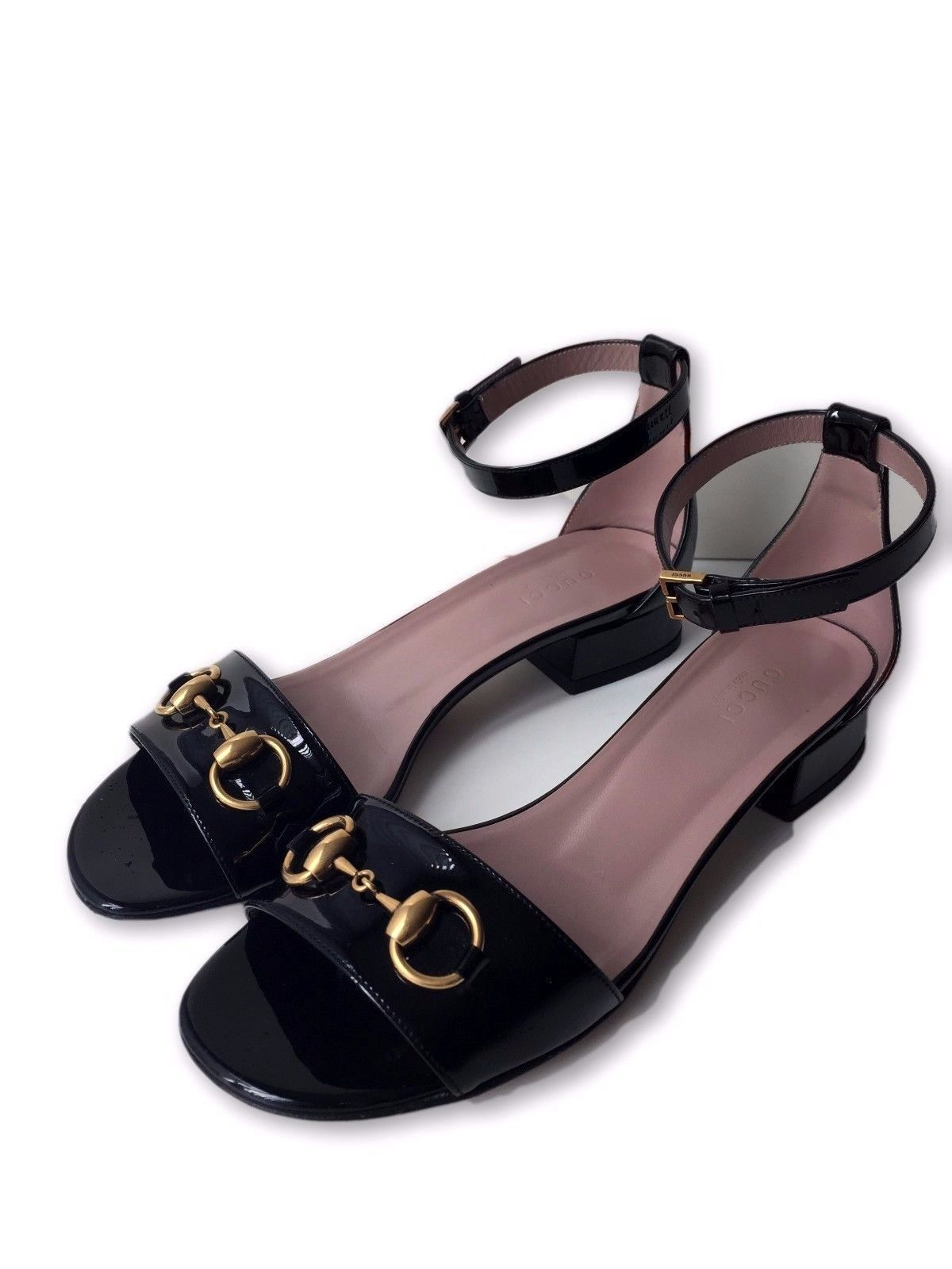 Patent Flat Sandal With Ankle Strap