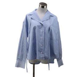 Loewe Blue White Striped Cotton Blouse sz 2