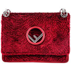 Fendi Kan I F Velvet Shoulder Bag