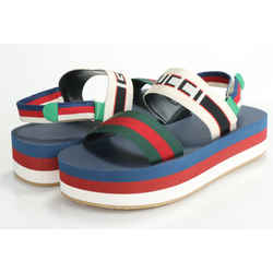 Gucci Canvas Logo Platform Sandals