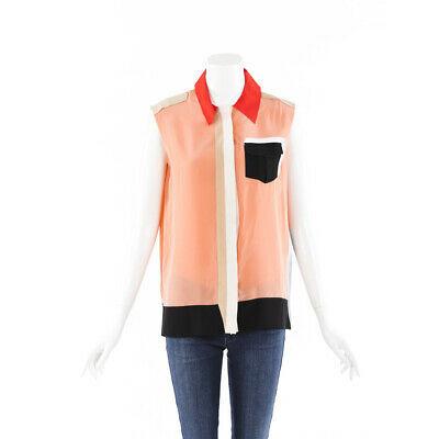 Fendi Color Block Silk Top SZ 36