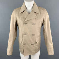 Woolrich Size S Tan Cotton Blend Pointed Collar Double Breasted Jacket