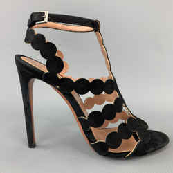 Alaia Size 8 Black Suede Laser Cut Strappy Sandals