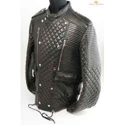Balmain Runaway Quilted Black Leather Motorcycle Biker Jacket