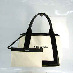 Balenciaga Navy Cabas S 339933 Women's Canvas,Leather Handbag Black,Off BF519107